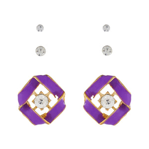 Purple colour Geometrical design  Studs for girls and women