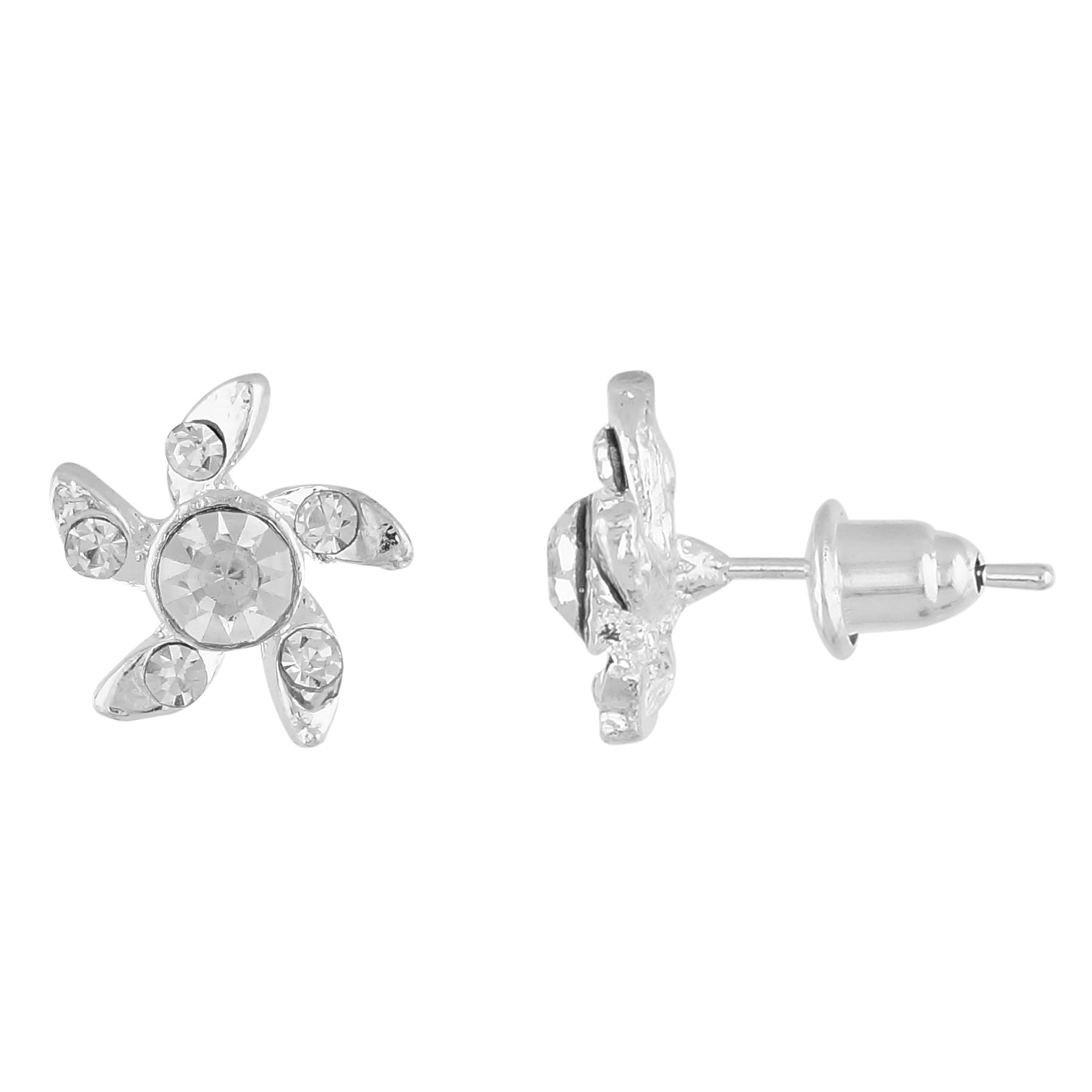 White Colour Floral Shape Ear  Studs for Girls and Womens