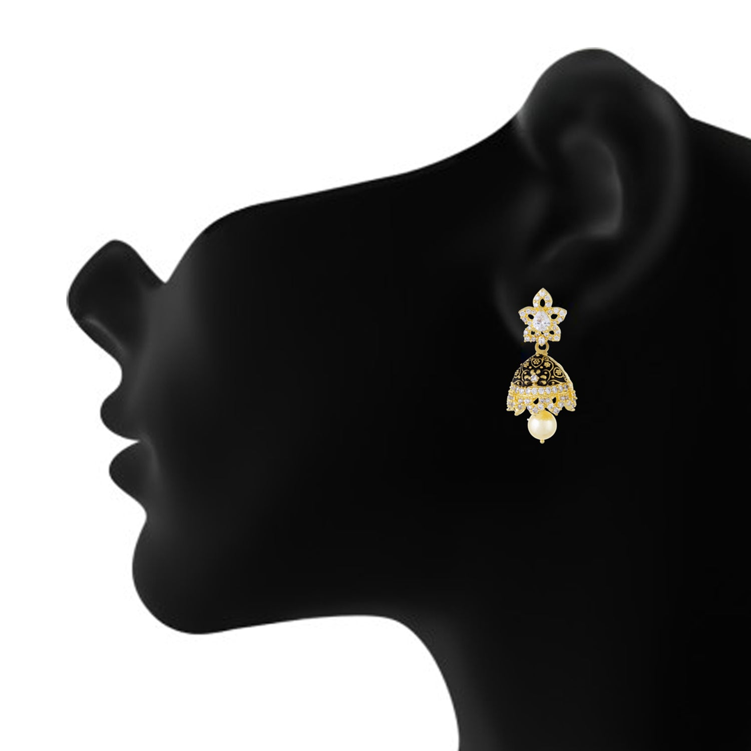 Stylish Black Antique Gold Plated CZ Copper Jhumki with Pearl Hanging for Ladies and Girls