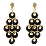Load image into Gallery viewer, Dashing Black and Gold Colour Bunch of Circles Design Earring for Girls and Women