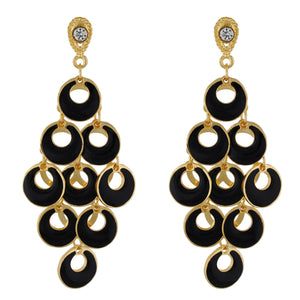 Dashing Black and Gold Colour Bunch of Circles Design Earring for Girls and Women