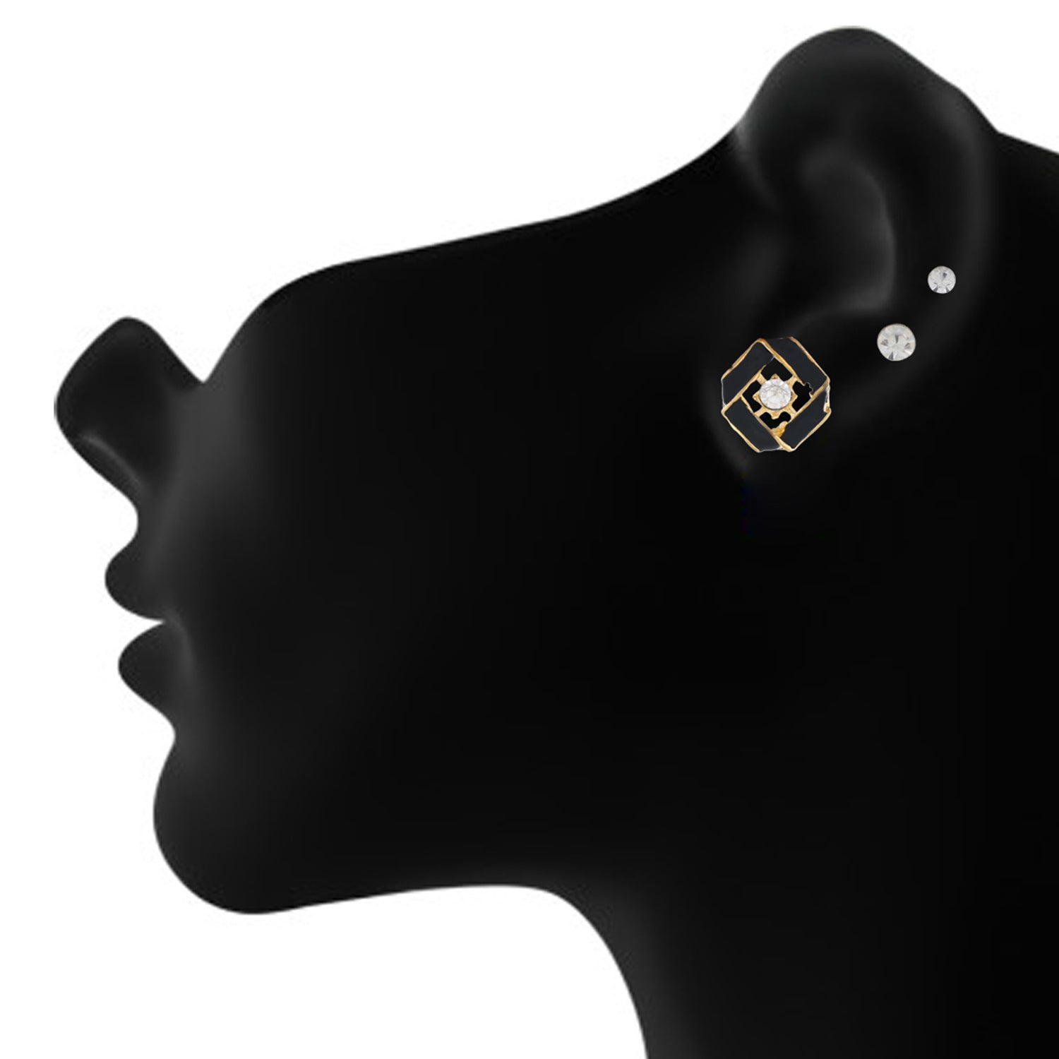 Black colour Geometrical design  Studs for girls and women