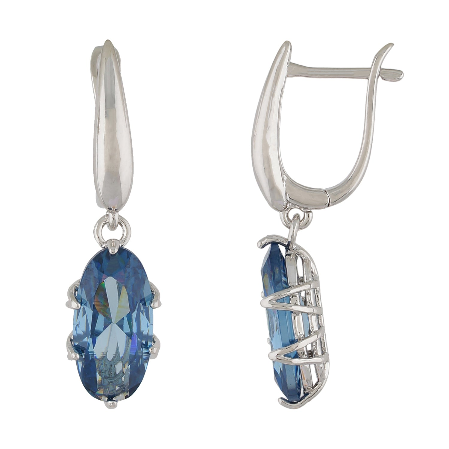 Impressive Blue and Silver Colour Oval Shape Earring for Girls and Women