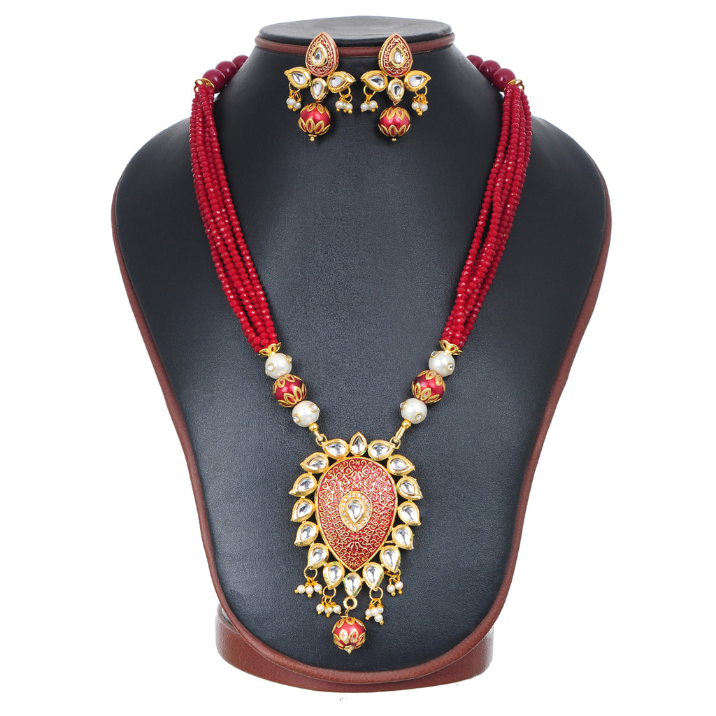 Gold Plated Enameled Kundan Meenakari Beaded Necklace with Earrings Set for Women (Red)