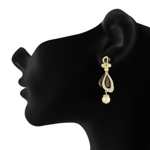 Designer Black Antique Gold Plated CZ Copper Hangings for Ladies and Girls