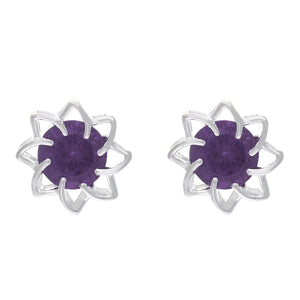 Red colour Floral Design  Stud Earrings for Girls and Women