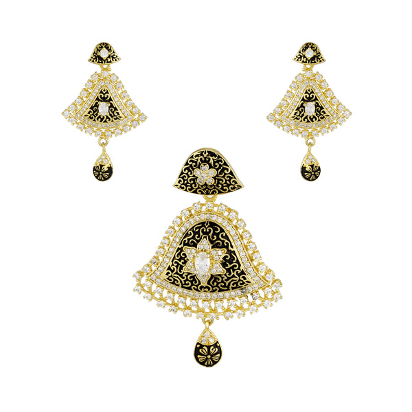Stylish Black Antique Gold Plated CZ Copper Pendant Set for Ladies and Girls