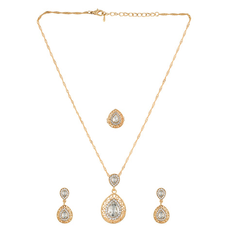 White small  Pendant Set  With Hangings & Ring For Girls and Women