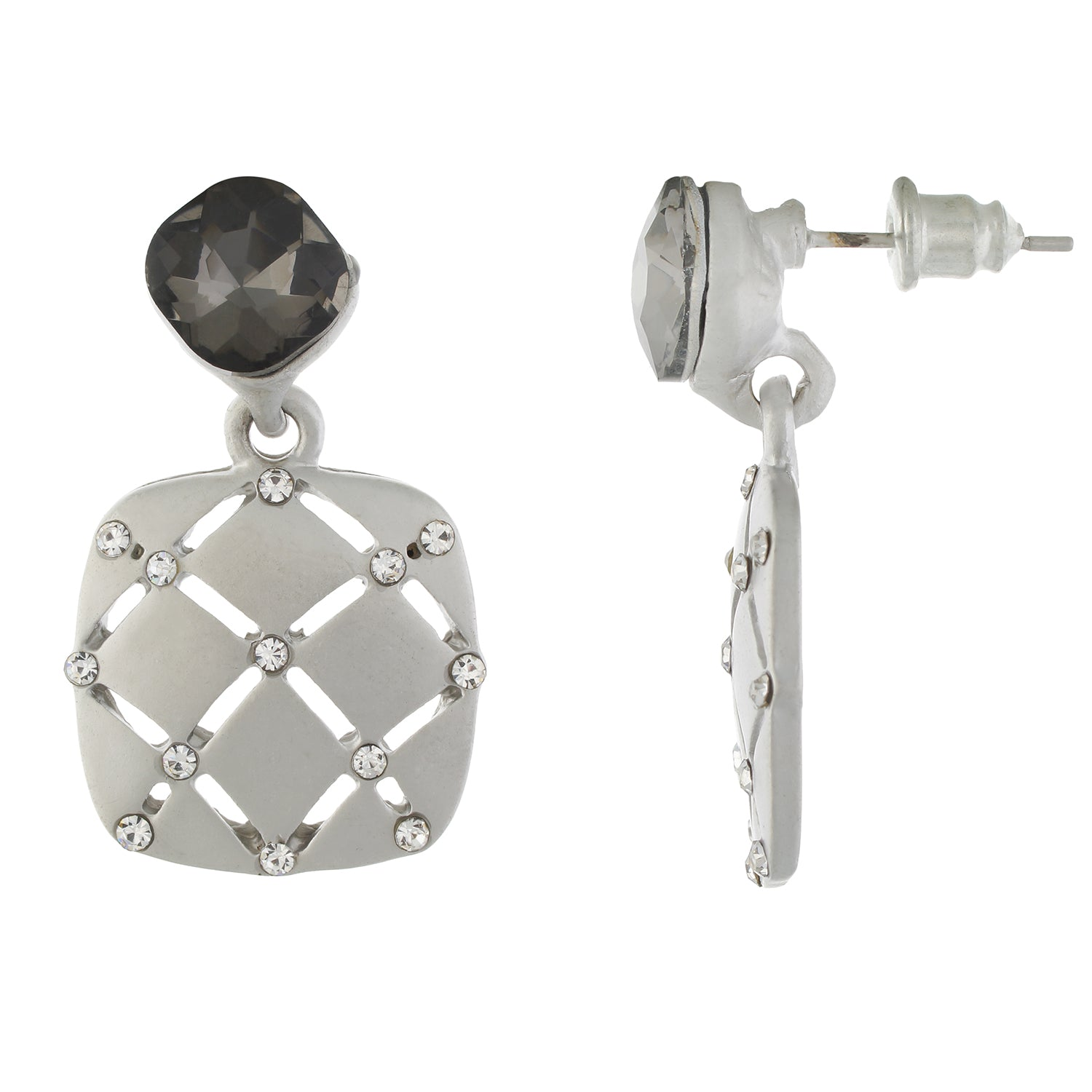 Silver colour Geometrical Design Hanging Earrings for Girls and Women