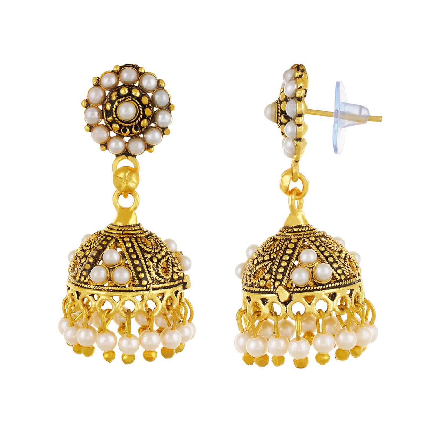Gold plated Pearl Jhumki Earrings Fashion Imitaion Jewelry for Girls and Women