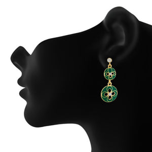 Modish Green and Gold Colour Floral and Round Shape Enamel Enhanced Earring for Girls and Women