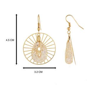 Gold colour Round Design Hanging Earrings for Girls and Women