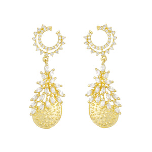 Ethnic Drop Shape Antique Gold Plated CZ Copper Hangings for Ladies and Girls