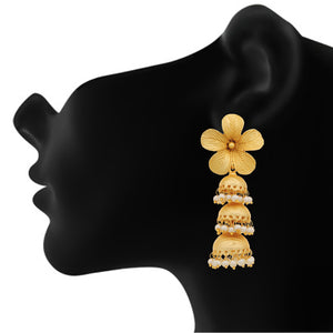 Gold Plated Floral Three Jhumki Designer Pearl Brass Earrings for Girls and Women