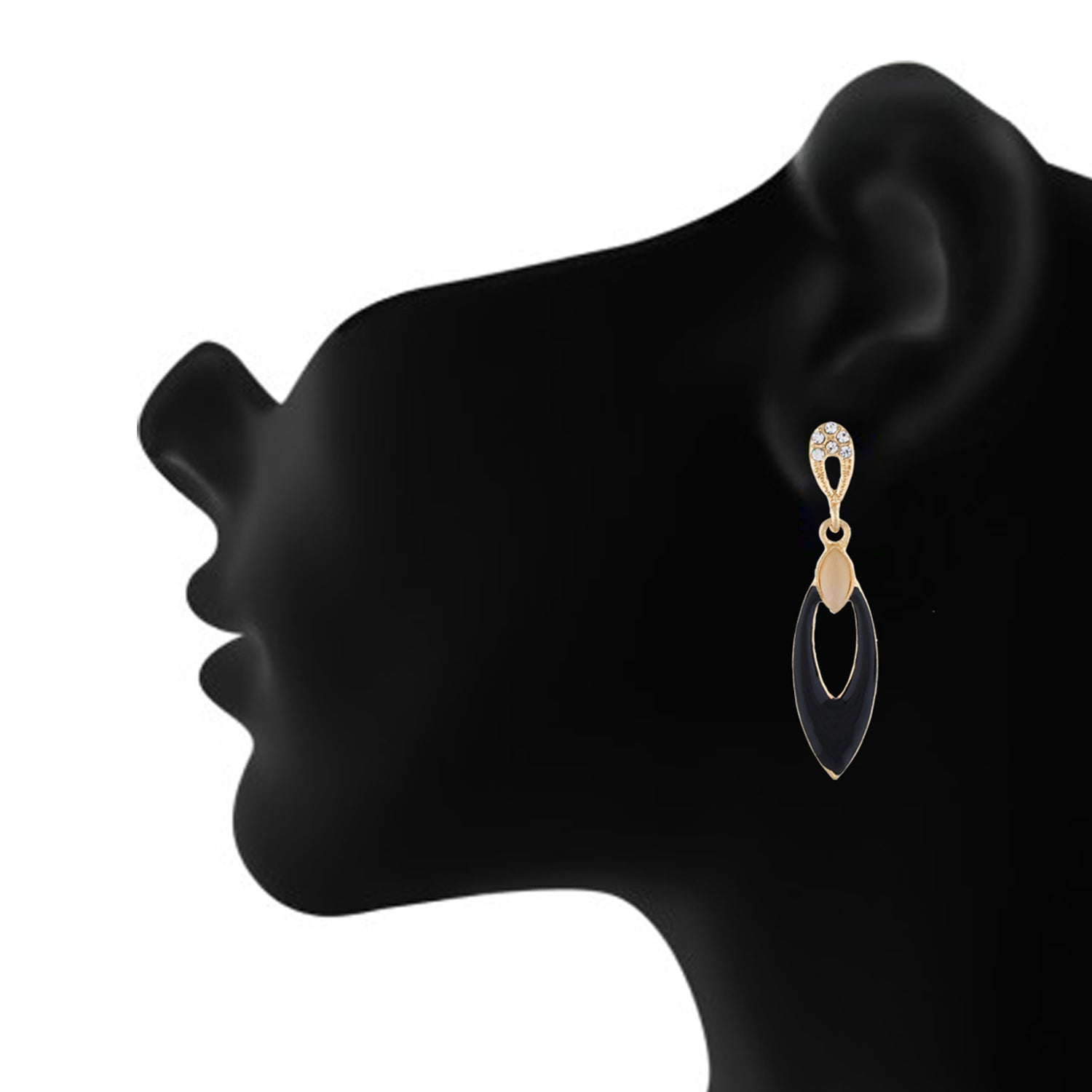 Black colour Oval Design Hanging Earrings for Girls and Women