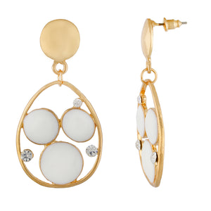 Stylish White and Gold Colour Drop Shape Earring for Girls and Women