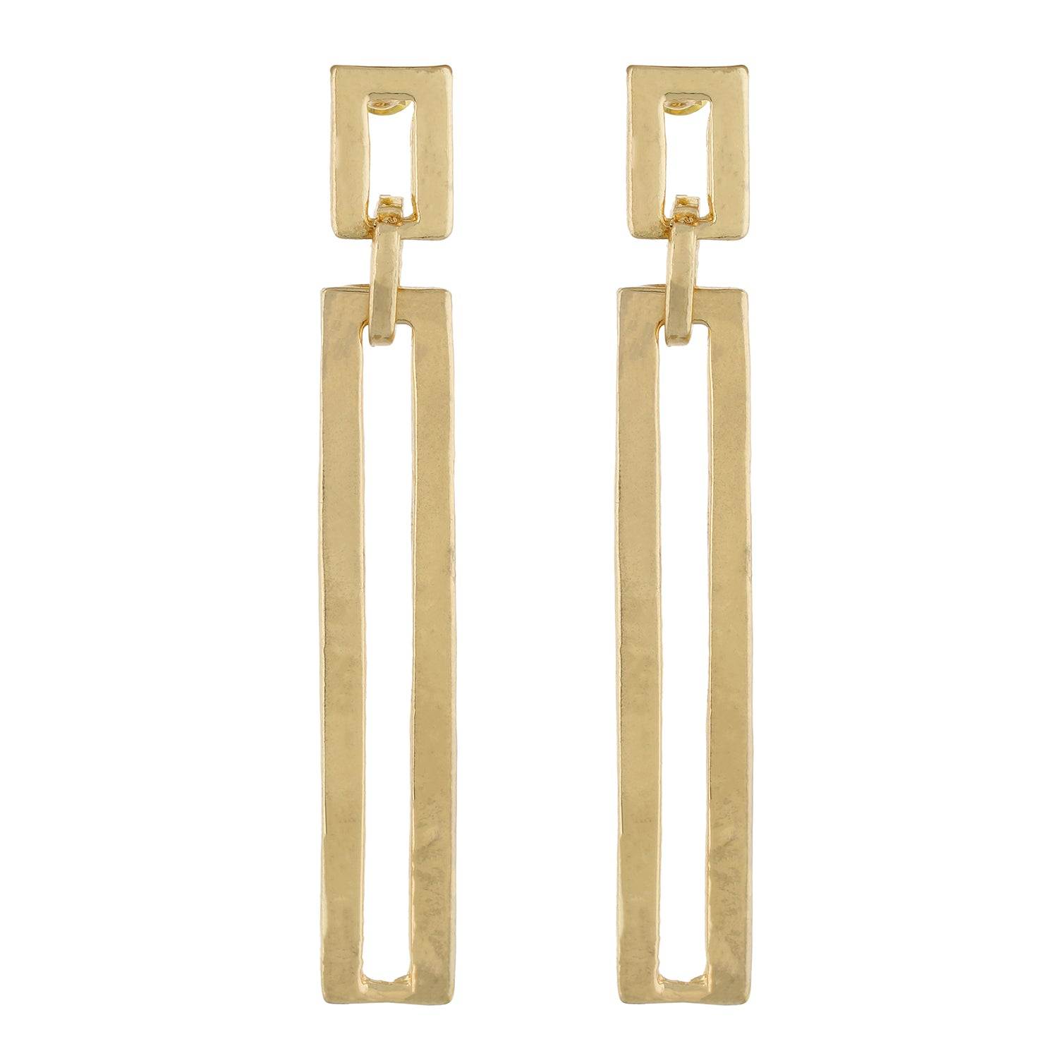 Gold colour Rectangular Design Hanging Earrings for Girls and Women