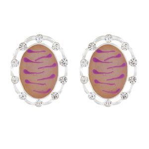 Pink colour Oval Design  Stud Earrings for Girls and Women