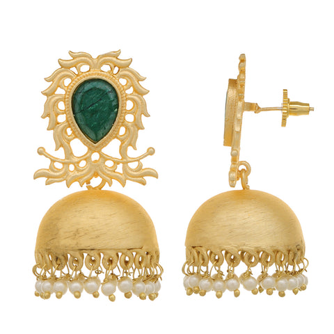 Gold Plated Jhumki Designer Pearl Brass Earrings for Girls and Women (Green)