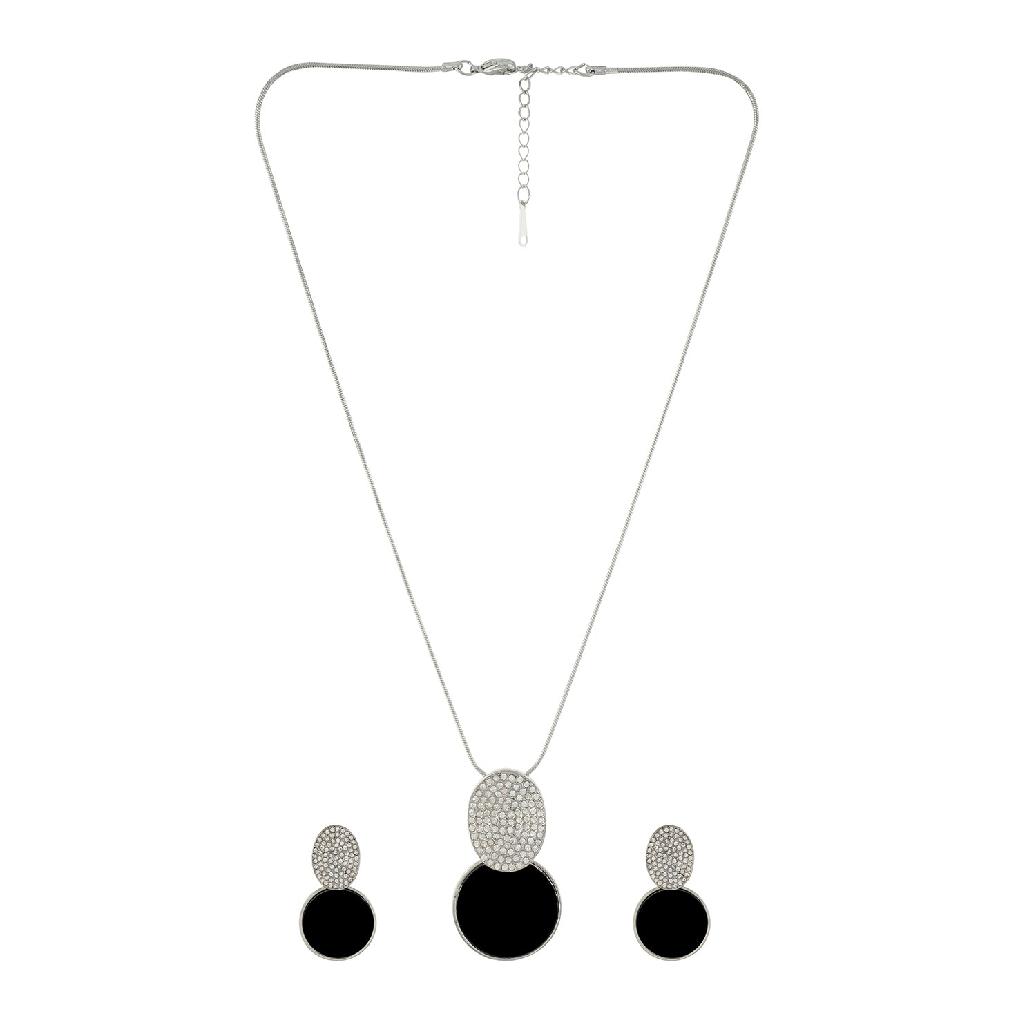 Black and Silver colour Round design Pendant Set for girls and women