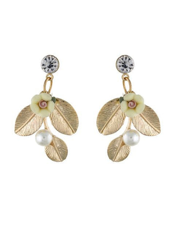 Gold colour Ceramic Flower shape Earring