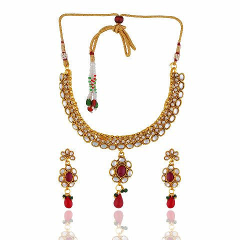 93bb84d0fa Smart and Grand Gold Plated with white and Red Stones Alloy Necklace ...