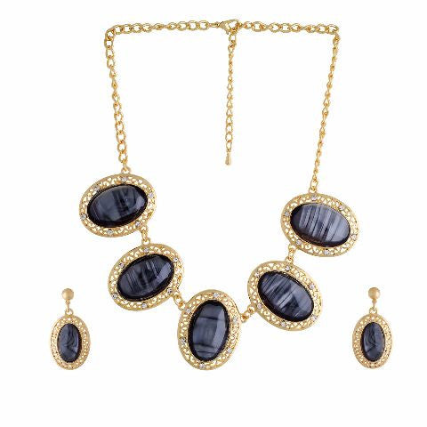 Black colour Indo Western design Necklace Set