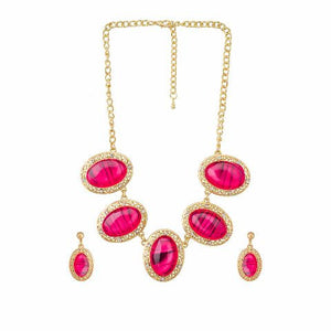 Red colour Indo Western design Necklace Set