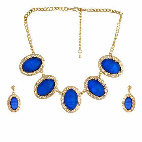 Blue colour Indo Western design Necklace Set