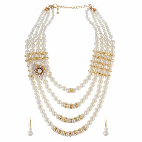 White colour Traditional design Necklace Set