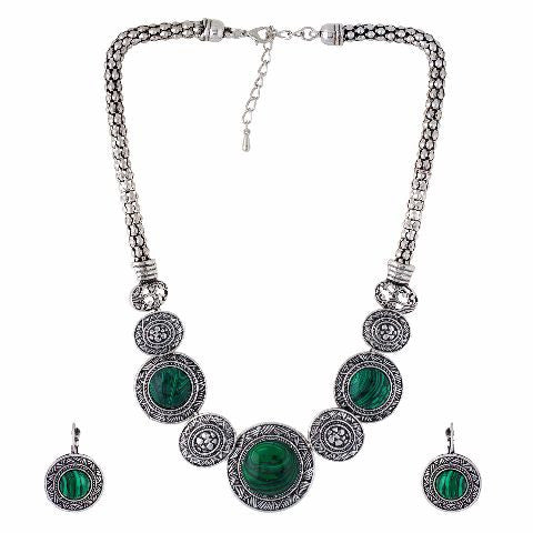 Silver and Green colour Tribal design Necklace Set