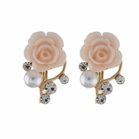 Beige colour Floral shape Ceramic Flower Earring