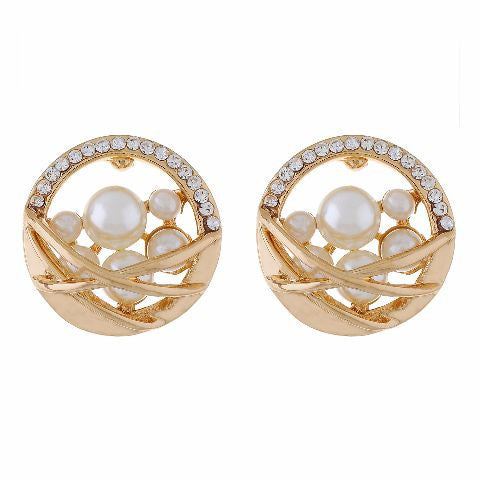 Gold colour Round shape Pearl Earring