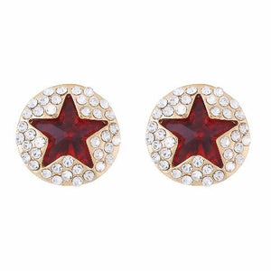 Red colour Round shape Studded Earring