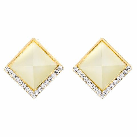 Cream colour Diamond shape Studded Earring