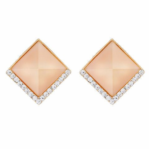 Beige colour Diamond shape Studded Earring