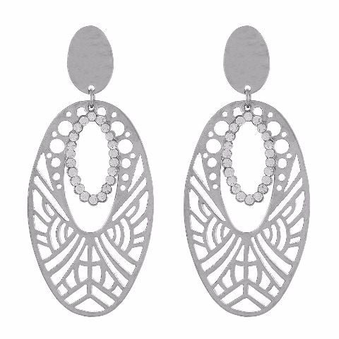 Silver colour oval shape Studded Earring