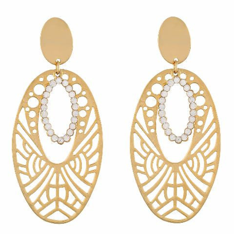 Gold colour oval shape Studded Earring