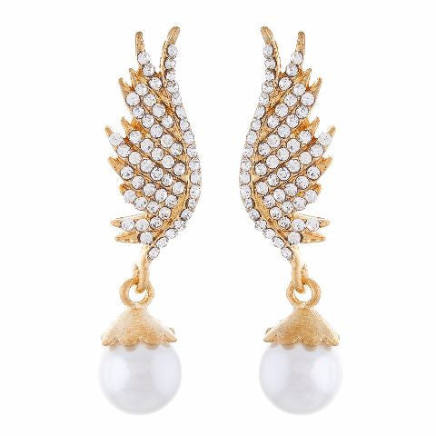 Gold colour Peacock feather shape Pearl Earring