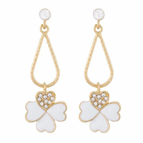 White colour Floral shape Enamel Earring