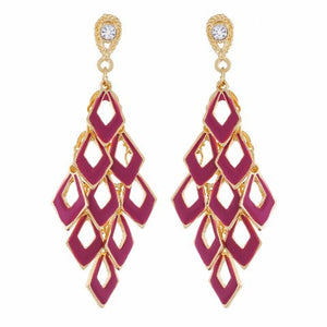 Pink colour Bunch of Grapes  shape Enamel Earring