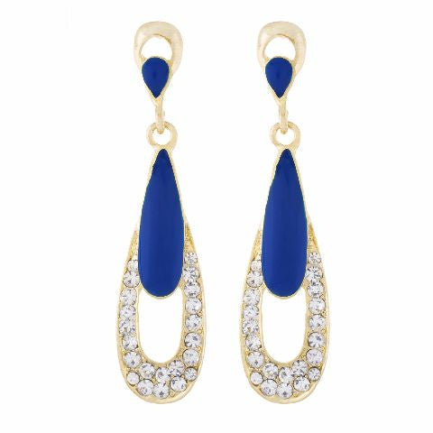 Blue colour Drop  shape Enamel Earring