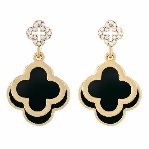 Black colour Floral shape Enamel Earring