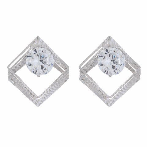 Silver colour Daimond shape Studded Earring