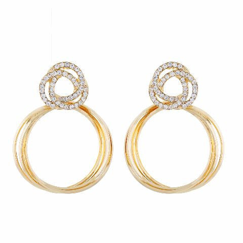 Gold colour Round shape Studded Earring