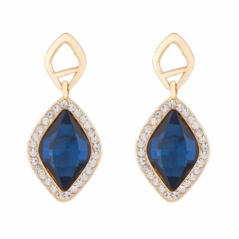 Gold colour diamond shape Stone Studded Earring
