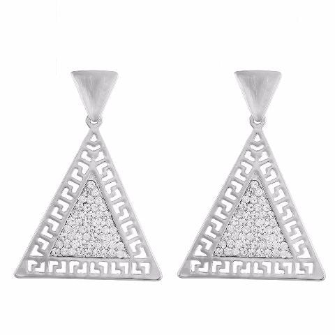 Silver colour Triangle shape Stone Studded Earring