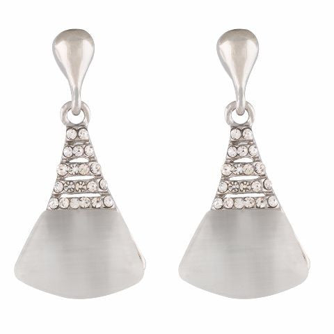 Silver colour Cone shape Stone Studded Earring
