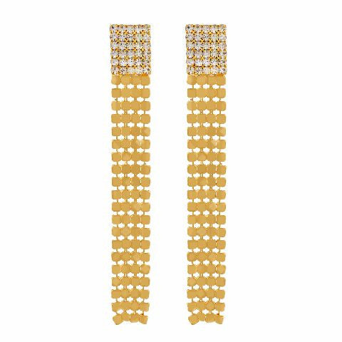 Gold colour rectangular shape Stone Studded Earring