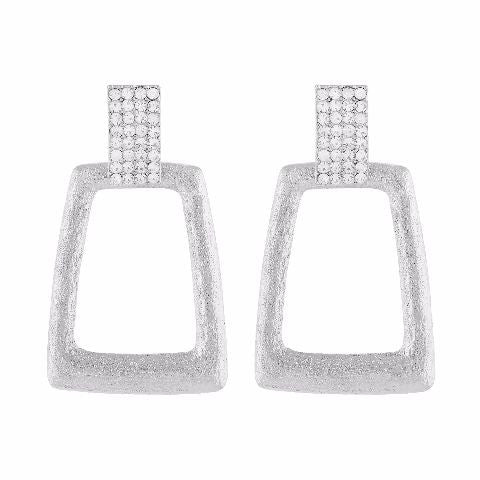 Silver colour rectangular shape Stone Studded Earring